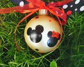 Mickey and Minnie Mouse Ornament - Couple's Gift, Personalized Disney Ornament - Wedding or Engagement Ornament - Hand painted Glass Ball