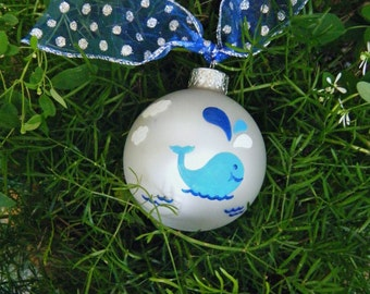 Whale Ornament Personalized - Whale Watching Vacation Souvenir - Blue Whale Christmas Ornament - Whale Nursery Decor - Hand Painted Bauble