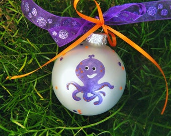 Octopus Ornament - Ocean Birthday - Aquarium decor - Personalized Handpainted Christmas Ornament - Sea Birthday, Under the Sea Nursery
