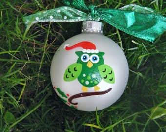 Santa Owl Ornament, Christmas Bauble - Handpainted, Personalized FREE, Christmas Baby Keepsake, Baby Shower Gift, Green Owl with Santa Hat