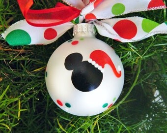 Mickey Mouse with Santa Hat Ornament  - Personalized Disney Christmas Ornament - Mickey Mouse Ears - Hand Painted Glass Ball - Santa Mickey