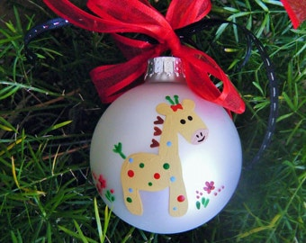 Newborn Baby Giraffe Ornament - Personalized Ornament, Baby's First Christmas - Hand Painted Bauble, New Baby Gift, Baby Shower Gift