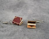 Gilded Red Book Earrings, surgical steel, old paper and marbled endpapers