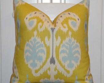 Decorative Pillow Cover - IKAT - Citron - Soft blue - Grey - Accent Pillow - Sofa Pillow