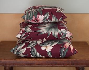 Hibiscus-Tropical-Barkcloth Pillow-Coconut Button-Raffia-Burgandy-Small