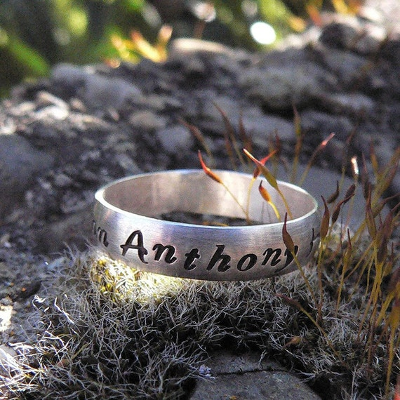 Custom Stamped Domed Ring - Sterling Silver