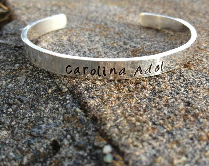 Heavy Sterling Silver Classic Cuff - Personalized - 11 font choices