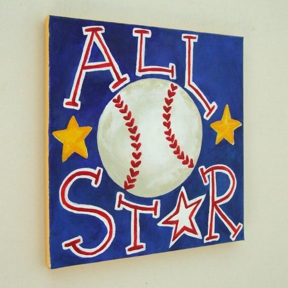 Kids Sports Painting, ALL STAR BASEBALL, 12x12 Canvas Baseball Themed Kids Decor