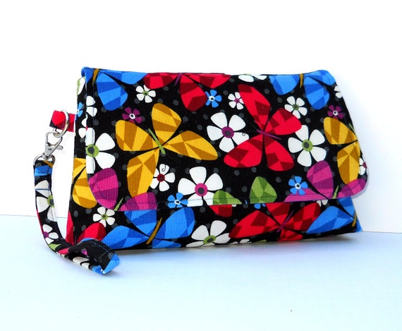 Wristlet with Flap, Corduroy Clutch - Colorful Butterflies on Black