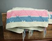 Vintage Afghan Blanket Crocheted Cream Pink Blue Diamonds