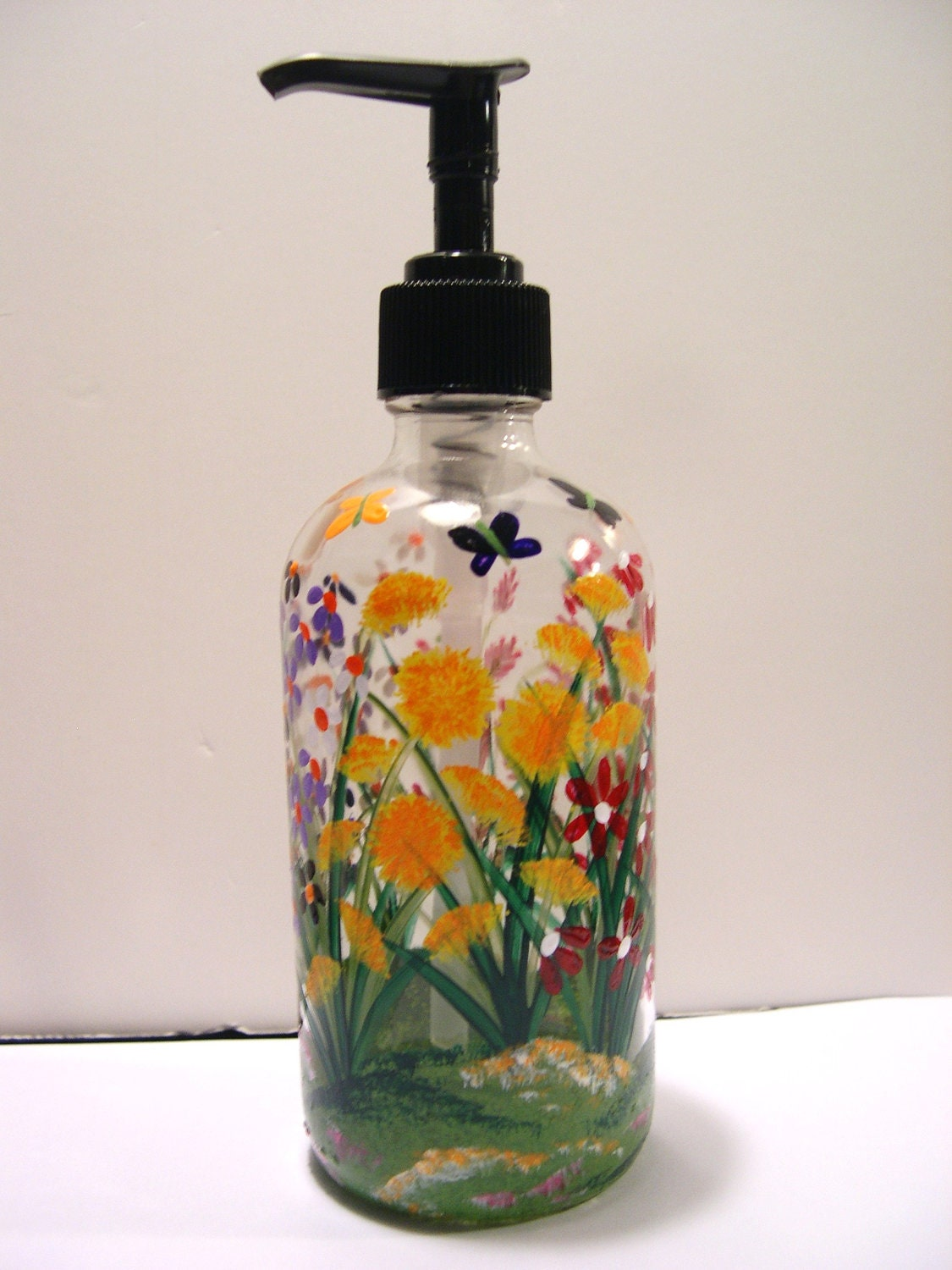 Hand painted glass soap dispenser bottle with by for Hand painted glass bottles