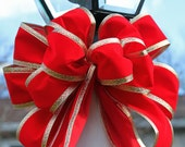Winter Wedding or Christmas garland/wreath bow  Red Velvet bow  with Gold edging.