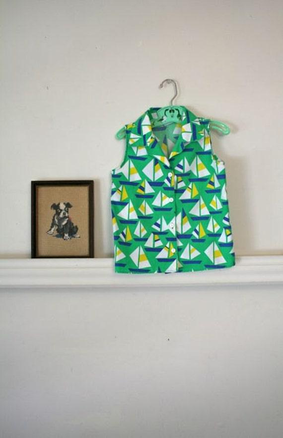 vintage girl's blouse - SAIL AWAY novelty print shirt / sz 6-7