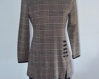 1960s MOD Mad Men Panel Dress Black & Brown Houndstooth Pattern