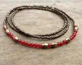Dainty Red Carnelian Necklace, everyday Bohemian necklace with carnelian, brown seed beads and golden brass