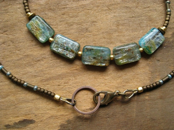 Blue Kyanite Necklace, rustic beaded necklace with blue green kyanite rectangles, simple tribal style necklace