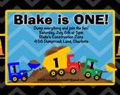Under Construction Birthday Invitation - Printable or Printed - 1st Birthday Invite - ANY AGE Available