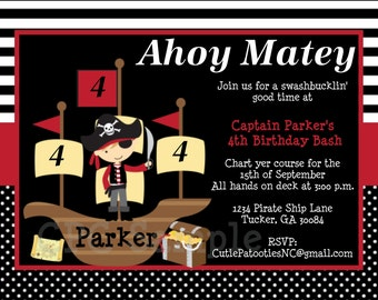 Pirate Birthday Invitations - Printable or Printed - Pirate Party Supplies and Decorations - Pirate Birthday T-Shirt