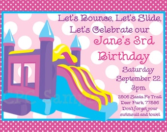 Bounce Castle Birthday Party Invitation - Printable or Printed - Bounce House Invitations - Party Supplies - Party Decorations