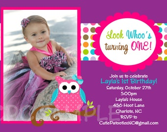 Owl Birthday Invitation - Printable or Printed - Owl Baby Shower Invitation - With or Without Photo - Pink and Purple Owl Invitations