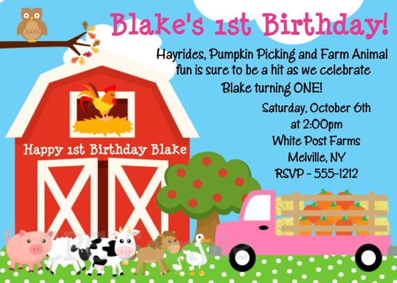 Farm Birthday Invitation - Petting Zoo Party Invitations - Printable or Printed