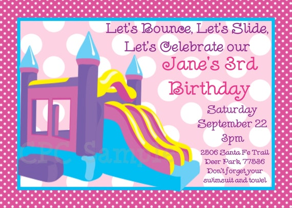 items similar to bounce castle birthday invitation bounce house, Birthday invitations