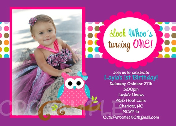 items similar to owl birthday invitation  printable or printed, Birthday invitations