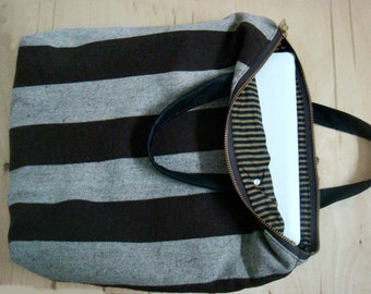 Stripe Canvas Tote Laptop Bag Leather Handles
