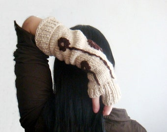 KNITTING PATTERN Fingerless Gloves, Rustic Hand Warmers Pattern, with Crochet Flowers