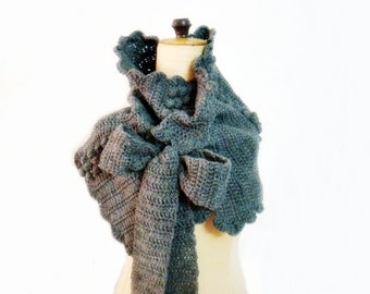 Crochet Wrap Pattern, Neck Warmer Crochet Pattern, Crochet Cowl Pattern with Bow Ties, Crochet Scarf Pattern