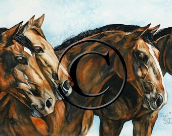 Fine Art piece - Original watercolor, horse, print, reproduction, giclee