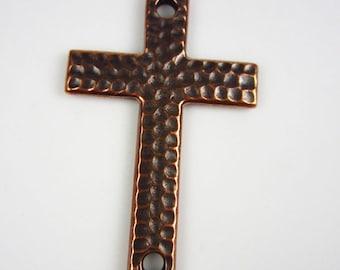 Antique Copper TierraCast Hammertone Cross Link