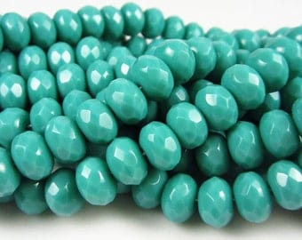 25 Czech Glass 9/6 mm Turquoise Rondelles/Gemstone Donuts
