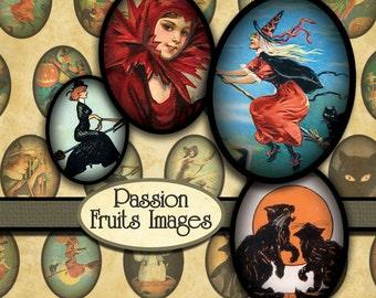 Vintage Halloween  Digital Collage Sheet- 18mm x 24mm ovals-- Instant Download