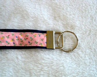 Key Chain / Key Fob Wristlet - Pink Floral on Blue
