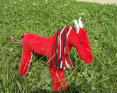 Handmade Red Pony, Horse, Plush Stuffed Animal, Child Safe