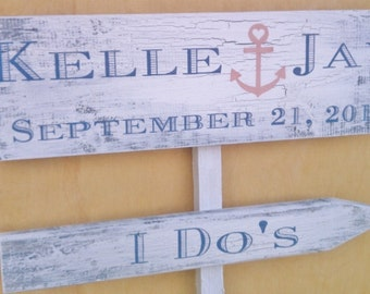 NAUTICAL Wedding Signs with ANCHOR Shabby Chic, BEACH Weddings, Military Weddings, Ship Weddings