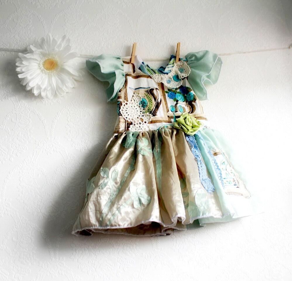 Shabby chic toddler dress 2t mint green children 39 s for Childrens dress fabric