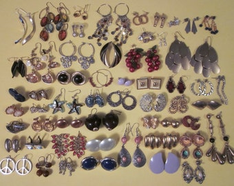 PRICE REDUCED - Huge Lof of Vintage Pierced Earrings - 57 Pairs