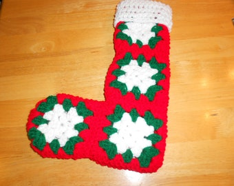 crochet granny square stocking