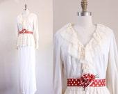 vintage 1970s maxi dress / ecru lace peplum polka belted rose gown / size M L