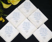 Personalized Wedding Handkerchiefs Wedding Party Gifts Embroidered Set of 6 Custom order