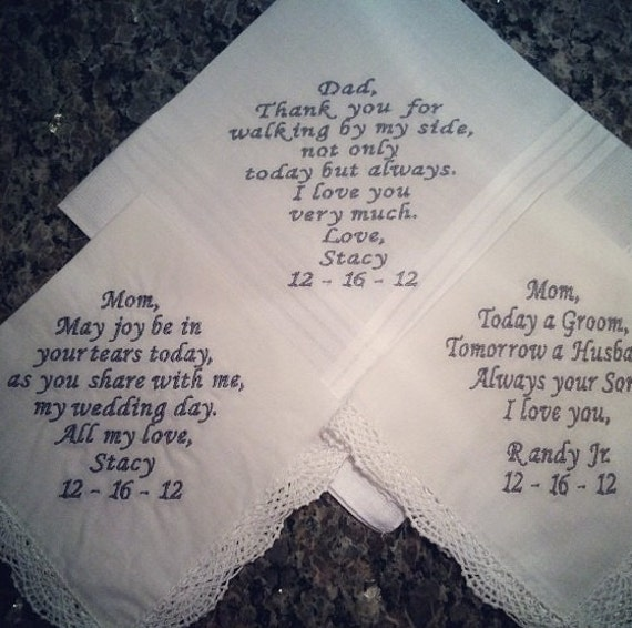 Wedding Party Handkerchiefs Set of 3 Father of the Bride Mother of the Bride Custom made