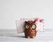 1970s Ceramic Owl Napkin Holder / Vintage Kitchen Kitsch