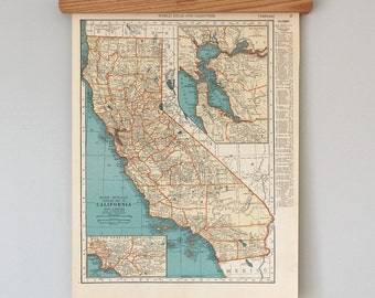 1930s Antique State Map of California and Colorado