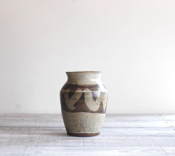 1970s Studio Pottery Vase in Grey and Brown / Vintage Handmade Stoneware
