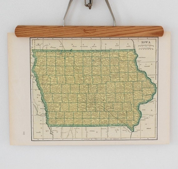 1940s Antique Map of Iowa and Kansas
