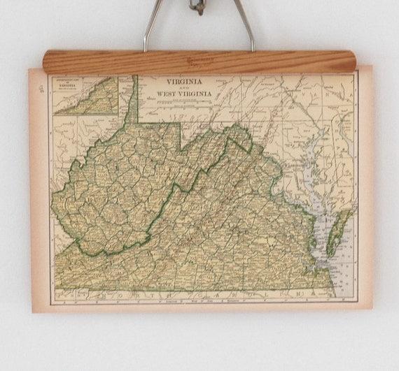 40s Antique State Map of Virginia, West Virginia and Utah