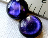 Dichroic Cabochons 17 mm Iridescent Purple Set of 2