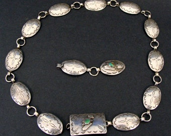 Old Pawn Native American Wolf Robe Hunt Sterling Silver Concho Belt w/ Extender